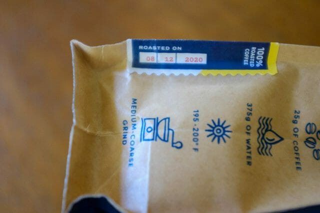 Coffee bag roast date