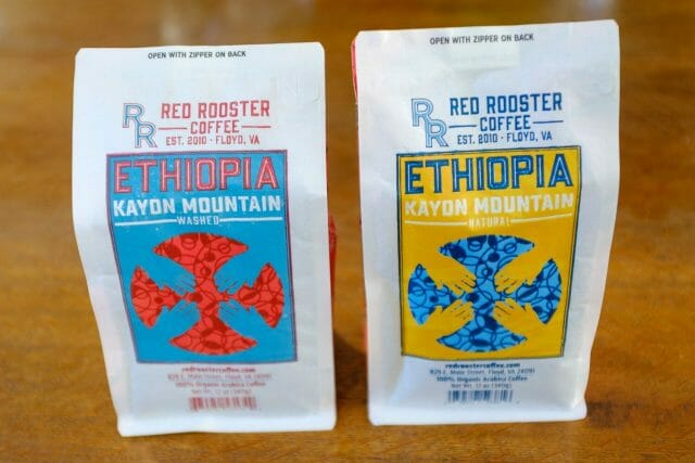 Coffee processing methods: two bags of ethiopian coffee. One natural process coffee and one washed process coffee